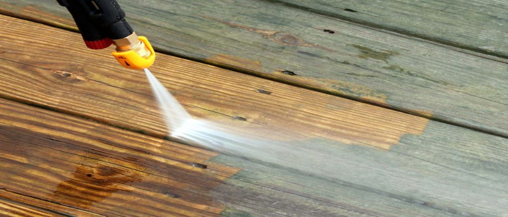 High pressure deck cleaning & painting Ibstock