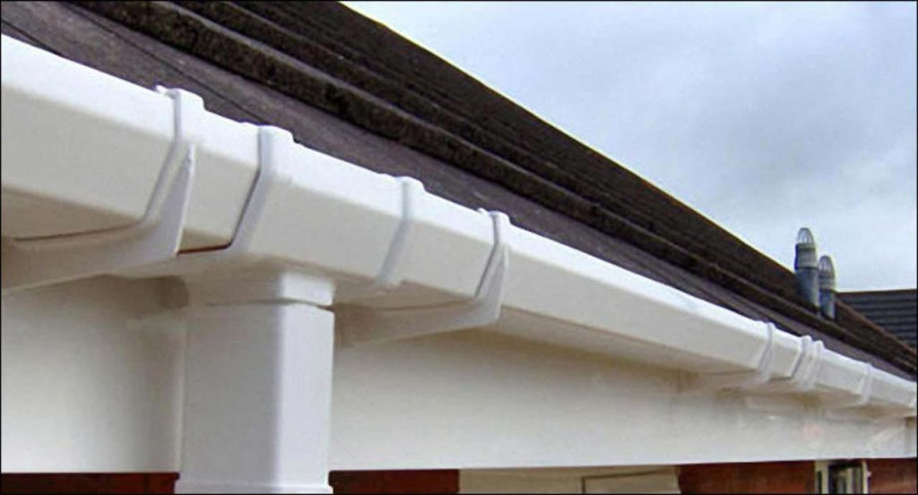 Soffits, fascias, gutters and cladding all cleaned using pure water in Shepshed & Loughborough